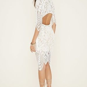 Forever 21 sheer white lace dress with nude lining